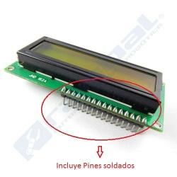 Pantalla LCD 16x2 con pines soldados