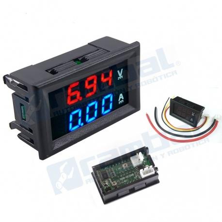 Voltimetro Amperimetro 100V 10A display rojo azul