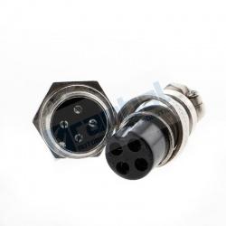 Enchufe 4-Pin 16mm GX16-4 Metal Macho y Hembra.